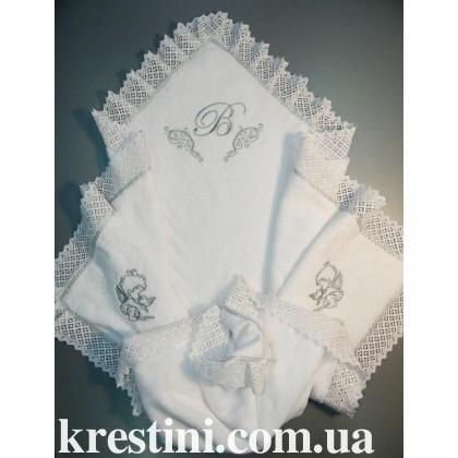 Утепленная модель для крещения с вышивкой милых ангелов