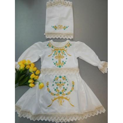 Крестильное платье с косынкой «Голубика»