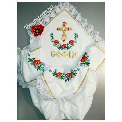 """Крижмо для хрещення з маками та волошками """"Софiя"""""""