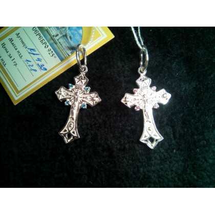Крестик серебряный с фианитом. Артикул: кр439
