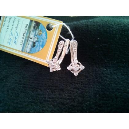 Серьги серебряные с фианитом. Артикул: С-45.