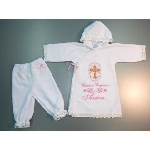 Рубашка крестильная для девочки со штанишками